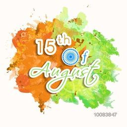 Creative Paper Text 15th of August on Flag colour splash background, Poster, Banner or Flyer design for Happy Indian Independence Day celebration.