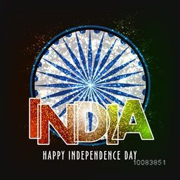 Creative Shiny Ashoka Wheel with Glittering Text India for Happy Indian Independence Day celebration.