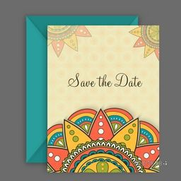 Colorful floral Wedding Invitation Card design with envelope.