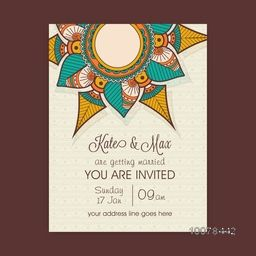 Beautiful floral decorated Wedding Invitation Card design.
