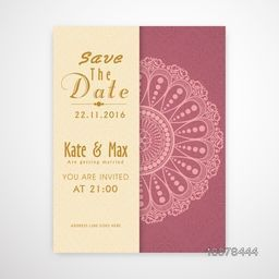 Beautiful floral design decorated Wedding Invitation Card with date and time details.