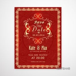 Creative shiny Wedding Invitation Card design decorated with beautiful floral pattern.