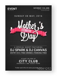 Creative chalkboard style, Pamphlet, Banner or Flyer for Mother's Day Event or Party celebration.