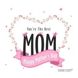 Elegant greeting card design with stylish text Mom in creative heart shape and pink ribbon for Happy Mother's Day celebration.