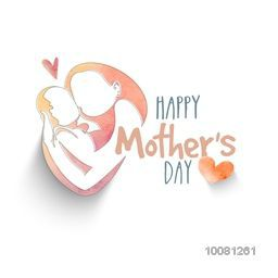 Elegant greeting card design with creative illustration of woman loving her child for Happy Mother's Day celebration.