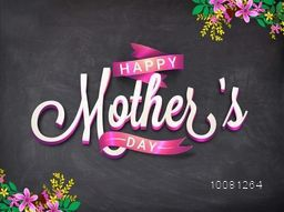 Creative glossy text Happy Mother's Day with Pink Ribbon on colorful flowers decorated chalkboard background.