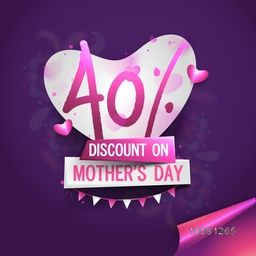 Mother's Day Sale, Sale Poster, Sale Banner, Sale Flyer, Sale Sticker, 40% Discount. Creative vector illustration with beautiful heart on purple background.