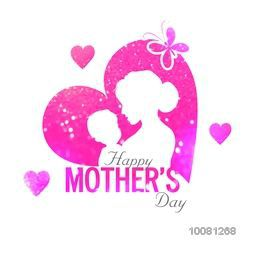Creative pink glittering heart with illustration of a woman with her child for Happy Mother's Day celebration.