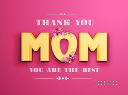Beautiful greeting card design with 3D golden text Mom on pink background for Happy Mother's Day celebration.