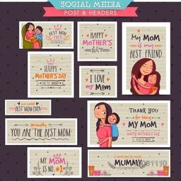 Creative social media post and header set with different typographic collection for Happy Mother's Day celebration concept.