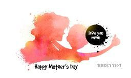 Creative watercolor illustration of a woman with her child for Happy Mother's Day celebration concept.