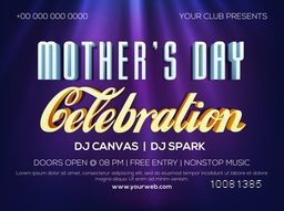 Creative Club Party Banner, Poster or Flyer design with stylish typographical background on occasion of Mother's Day celebration.