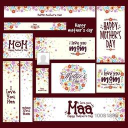 Colorful flowers decorated, Social Media Post and Header set with different typographic collection for Happy Mother's Day celebration.