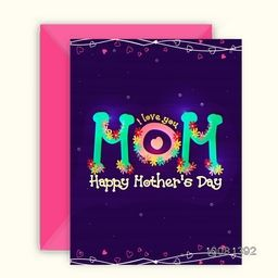 Elegant Greeting Card design with Envelope, Glossy text Mom with colorful flowers decoration for Happy Mother's Day celebration.