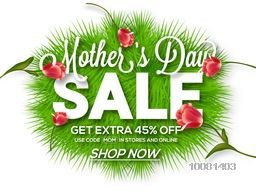 Mother's Day Sale, Sale Poster, Sale Banner, Sale Flyer, Extra 45% Discount Offer, Online Sale, Creative vector illustration with green fir leaves and glossy flowers.