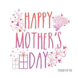 Happy Mother's Day typographical background with floral decoration, can be used as greeting card or invitation card design.