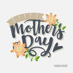 Elegant greeting card design with stylish text Happy Mother's Day and beautiful flowers decoration on grey background.