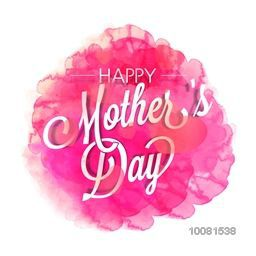 Stylish text Happy Mother's Day on hearts decorated pink splash background.