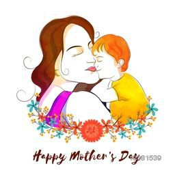 Illustration of Young Mother with her Son on flowers decorated background. Elegant Card for Happy Mother's Day celebration.