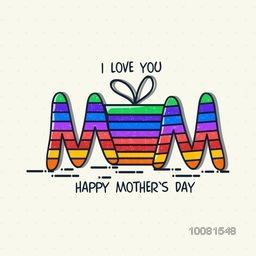 Stylish colorful text Mom with gift box for Happy Mother's Day celebration.
