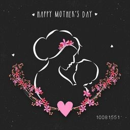 Creative illustration of Mother with her beautiful Child on flowers decorated background, Elegant Vector Illustration for Mother's Day celebration.
