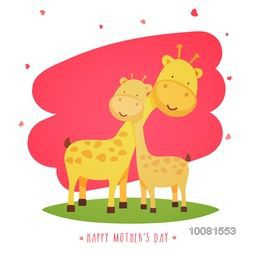 Illustration of Mother Giraffe with Baby Giraffe on stylish background, Creative Greeting Card design for Mother's Day celebration.