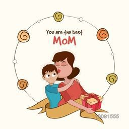 Illustration of Young Mother kissing to her Son, Elegant Greeting Card for Mother's Day celebration.