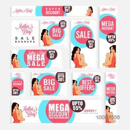 Social Media Sale Ads, Sale Post, Sale Headers, Sale Banners, Different Discount Offers for Happy Mother's Day celebration.