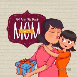 Illustration of cute little Daughter wishing and giving a beautiful gift to her Mother on occasion of Happy Mother's Day.