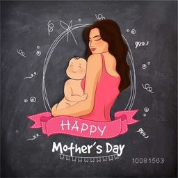 Illustration of a Young Mother with her cute Baby on creative chalkboard background, Elegant Greeting Card for Happy Mother's Day celebration.