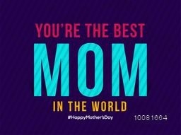 Elegant greeting card design with stylish text Mom on blue background for Happy Mother's Day celebration.