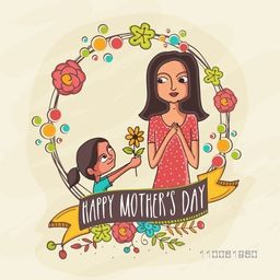 Illustration of a daughter giving a flower to her mother on occasion of Happy Mother's Day celebration.