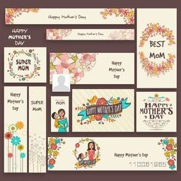 Happy Mother's Day celebration social media and marketing headers, banners or ads.