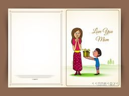 Happy Mother's Day celebration greeting card with cute little boy giving a gift box to his mother.