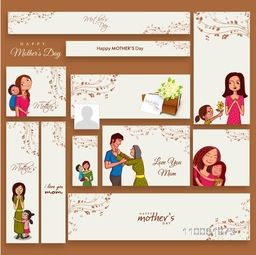 Social media and marketing headers, banners or ads for Happy Mother's Day celebration.