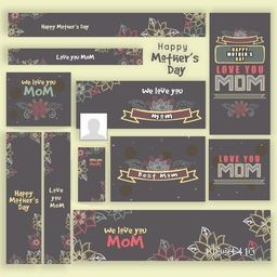 Social media and marketing banners, headers or adds for Happy Mother's Day celebration.