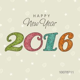 Elegant greeting card design with snowflakes decorated colorful text 2016 for Happy New Year celebration.