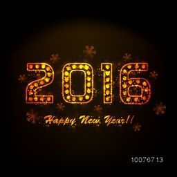 Creative shiny golden text 2016 on snowflakes decorated background for Happy New Year celebration.