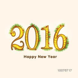 Creative text 2016 decorated with mistletoes and fir tree branches for Happy New Year celebration.
