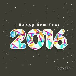 Greeting card design with abstract colorful text 2016 for Happy New Year celebration.