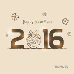 Elegant greeting card design with shiny text 2016 and Xmas Ball on snowflakes decorated background for Happy New Year celebration.