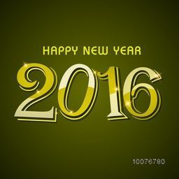 Elegant greeting card design with stylish shiny text 2016 on green background for Happy New Year celebration.