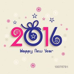 Elegant greeting card design with stylish text 2016 on snowflakes and stars decorated background for Happy New Year celebration.