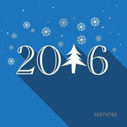 Elegant greeting card design with stylish text 2016 and Xmas Tree on snowflakes decorated blue background for Happy New Year celebration.