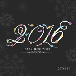 Elegant greeting card with stylish text 2016 on snowflakes decorated background for Happy New Year celebration.