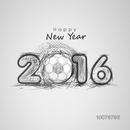 Elegant greeting card design with stylish text 2016 and football on grey background for Happy New Year celebration.