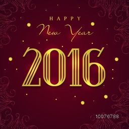 Elegant greeting card design with shiny text 2016 on floral decorated background for Happy New Year celebration.