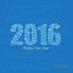 Elegant greeting card with stylish text 2016 made by snowflakes on blue background for Happy New Year celebration.