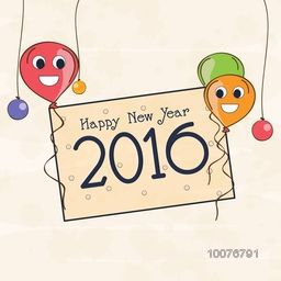 Elegant greeting card design decorated with stylish text Happy New Year 2016 and colorful balloons.