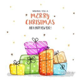 Colorful wrapped gift boxes on stars decorated background for Merry Christmas and Happy New Year celebration.